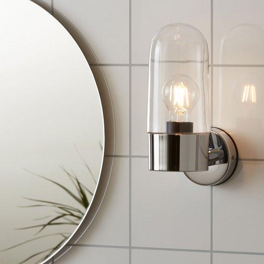 Vegglampe Zen, klart glass, krom