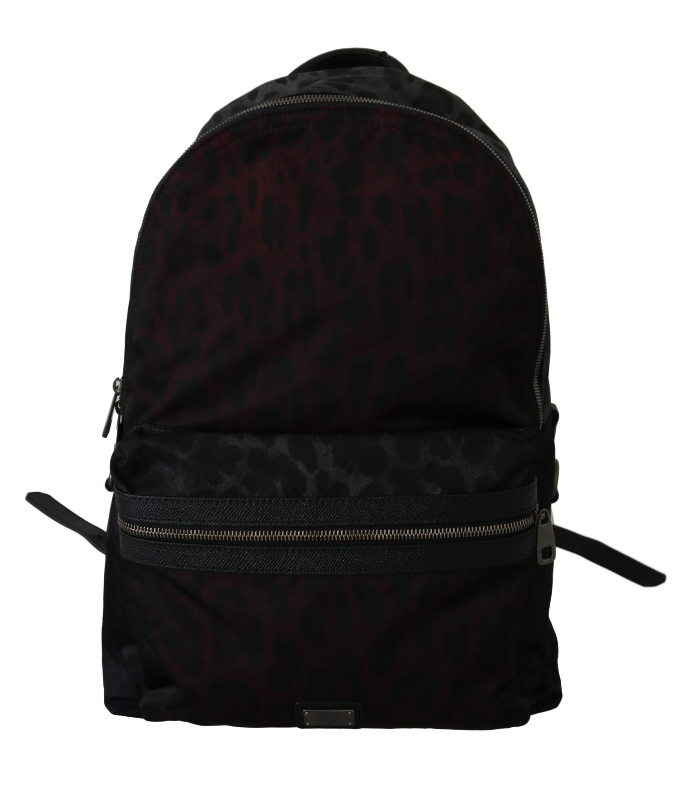 Dolce & Gabbana Men's Leopard School Nylon Backpack Black VAS8718