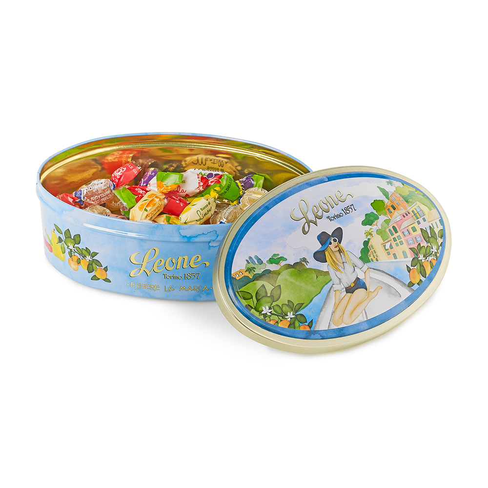 'Portofino Boat Trip' Tin of Fruit Sweets and Jellies 100g by Leone