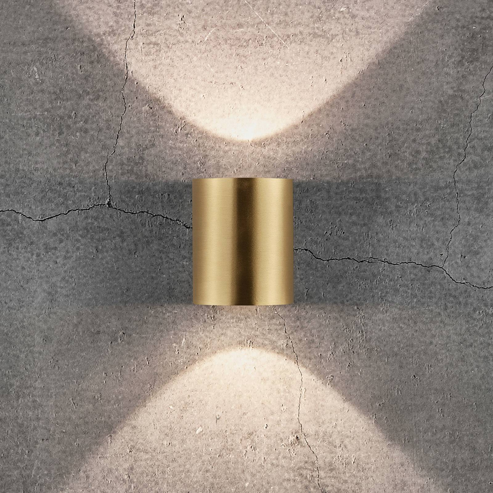 LED-ulkoseinälamppu Canto 2, 10 cm, messinki