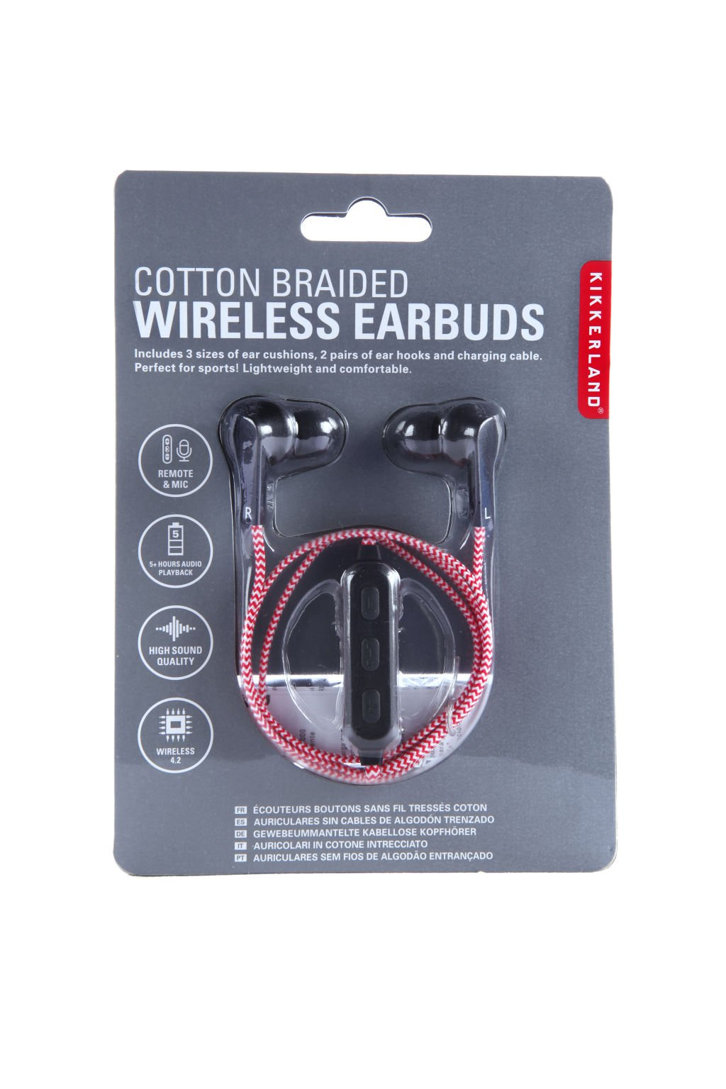 Red Cotton Braided Wireless Earbuds (US155-RD-EU)