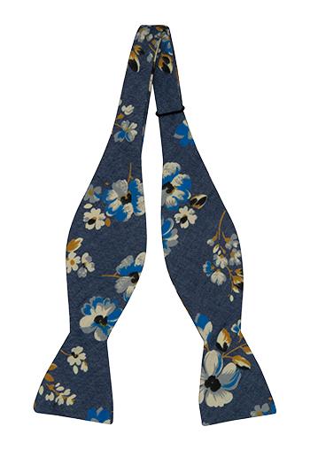 Bomull Sløyfer Uknyttede, Denimblått med blomster i hvitt, kobolt og sennep
