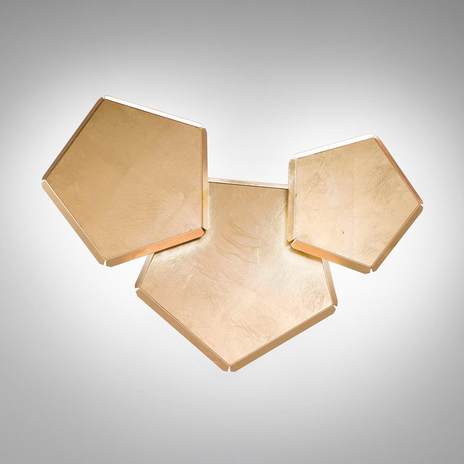 LED-vegglampe Pleiadi med gullblad, 3 lyskilder