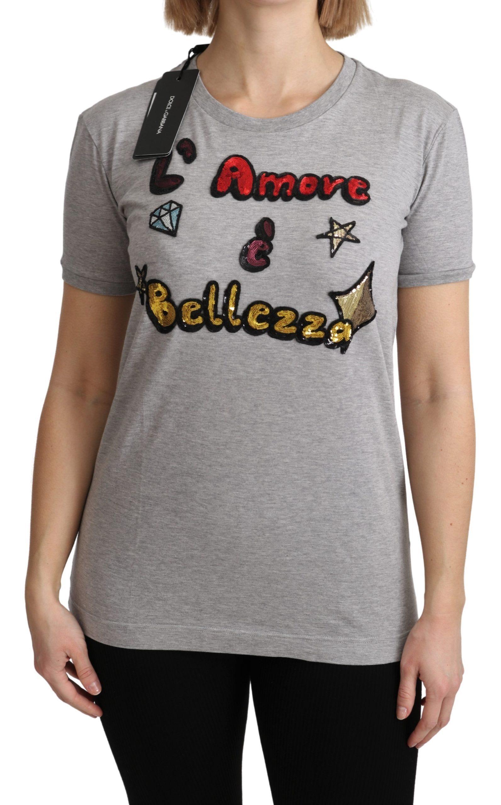 Dolce & Gabbana Women's Cotton Amore e Bellezza T-Shirt Gray TSH5154 - IT36   XS
