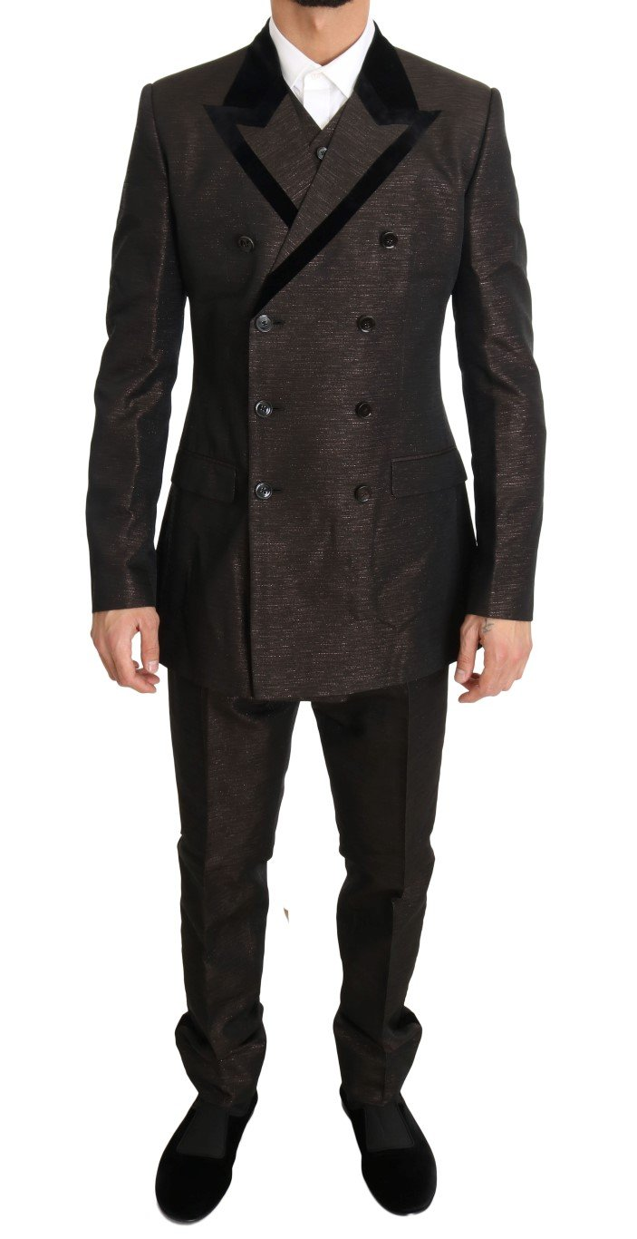Dolce & Gabbana Men's Double Breasted Slim Fit Suit Brown KOS1099 - IT48 | M