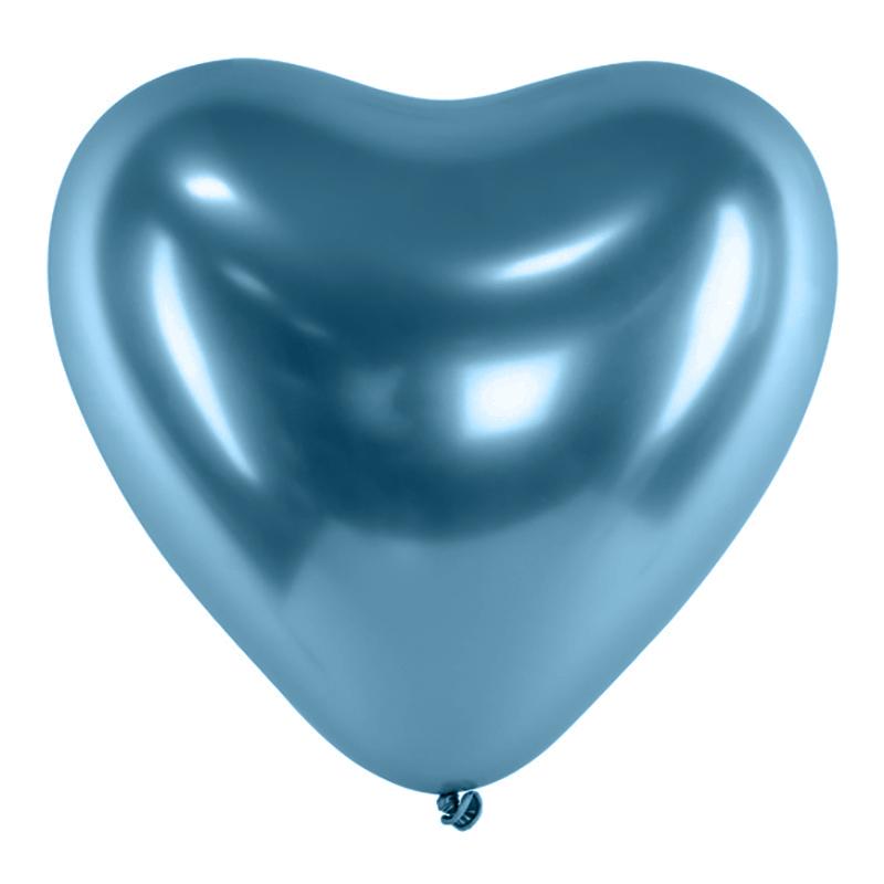 Hjärtballonger Krom Blå - 10-pack