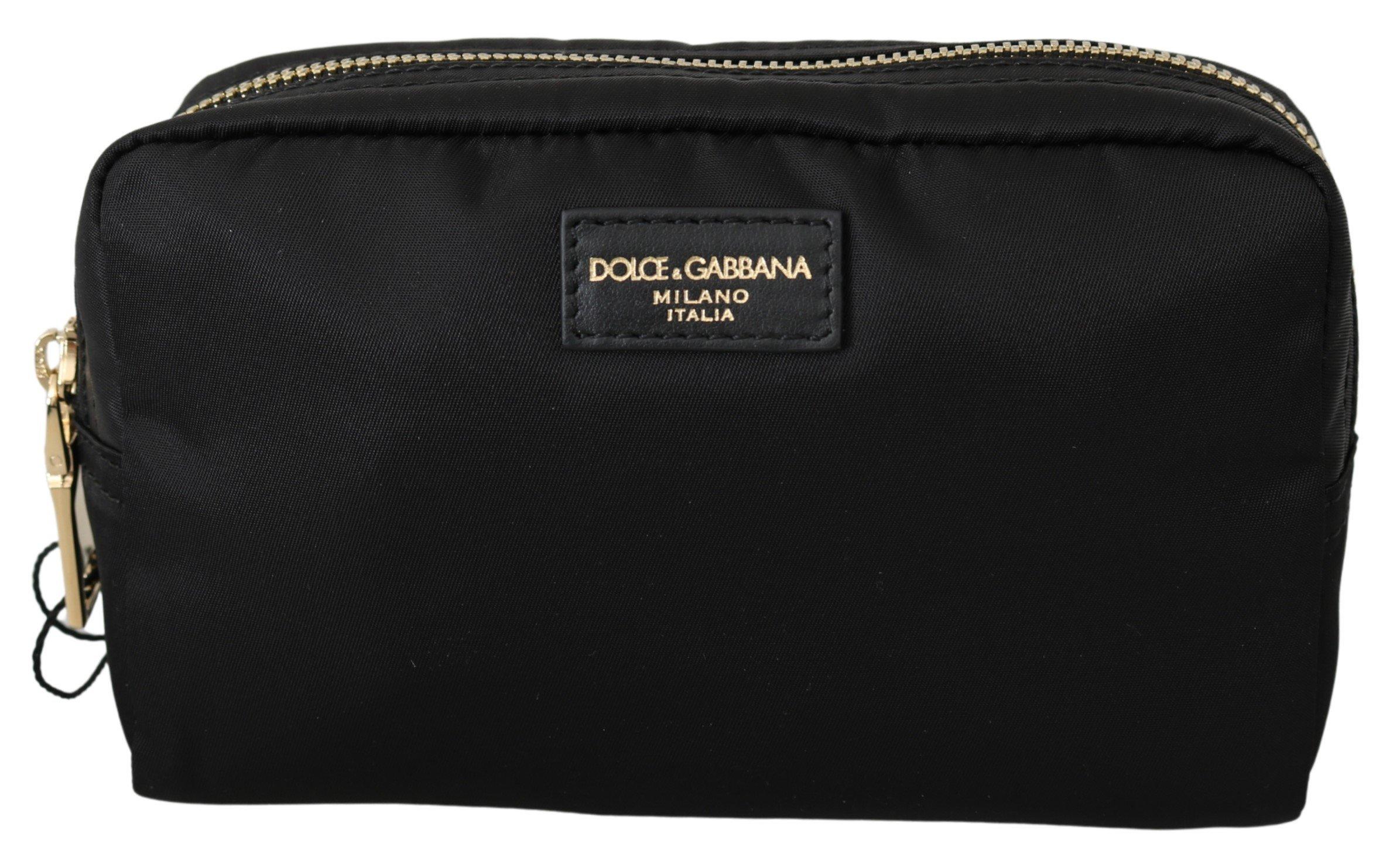 Dolce & Gabbana Women's Toiletry Hand Pouch Nylon Wallet Black VAS10060