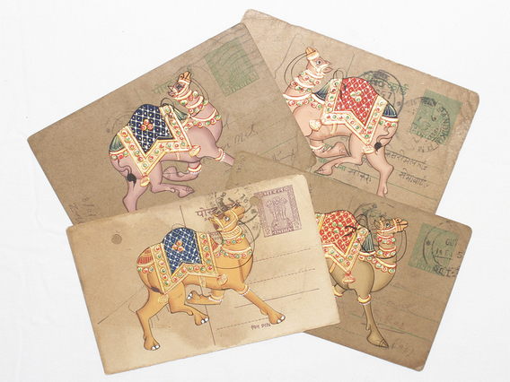 Hand-painted Vintage Indian Postcard - Colourful Camel
