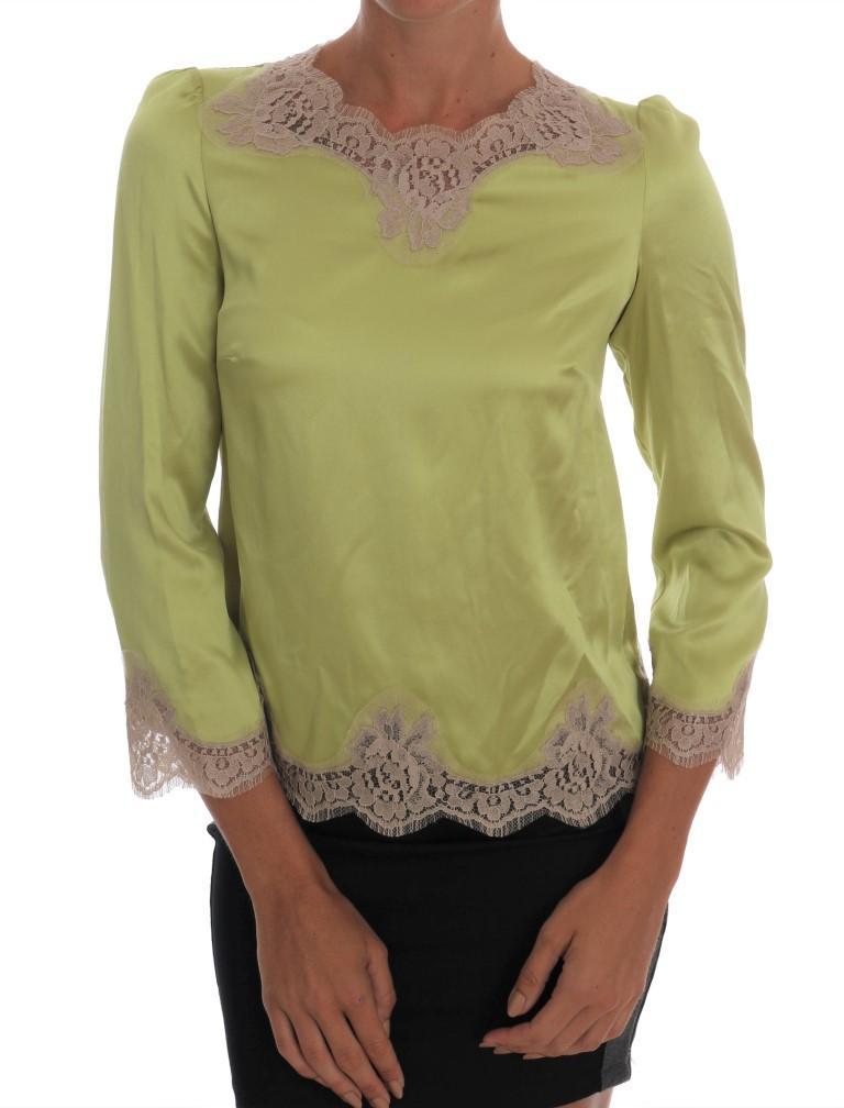 Dolce & Gabbana Women's Silk Stretch Top Green TSH1439 - IT38|XS