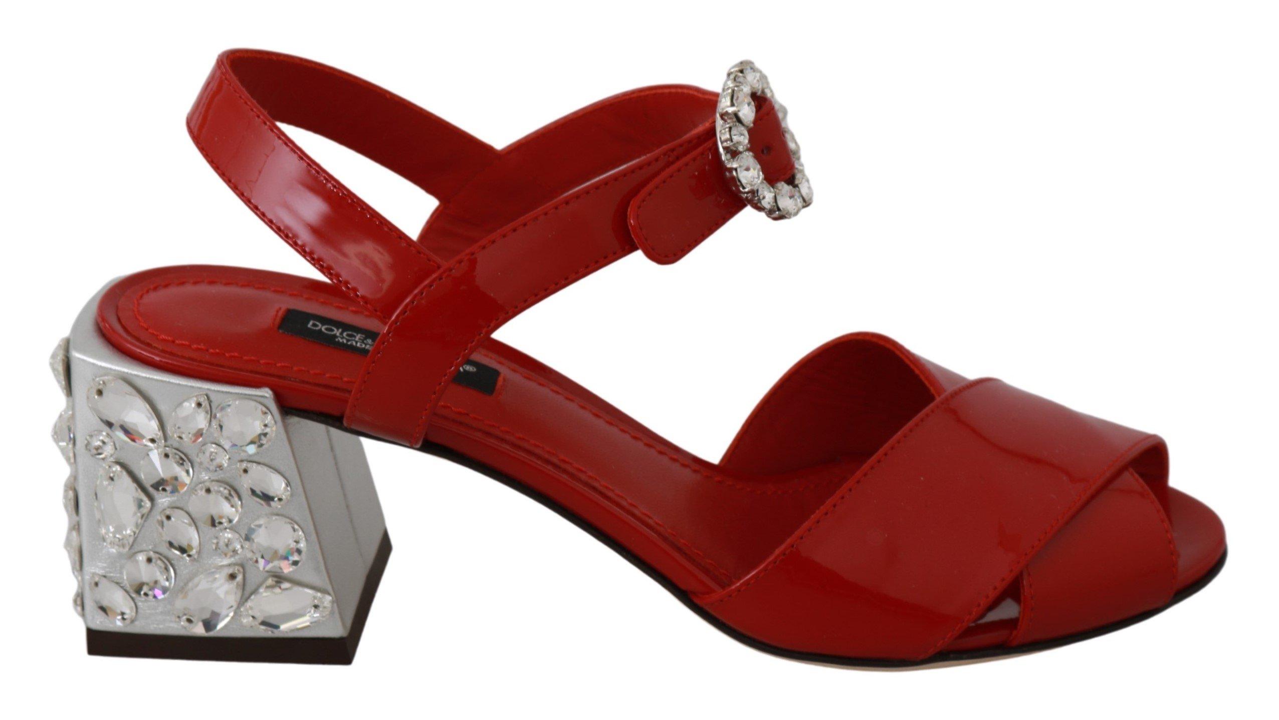 Dolce & Gabbana Women's Patent Leather Crystal Sandals Red LA6463 - EU36/US5.5