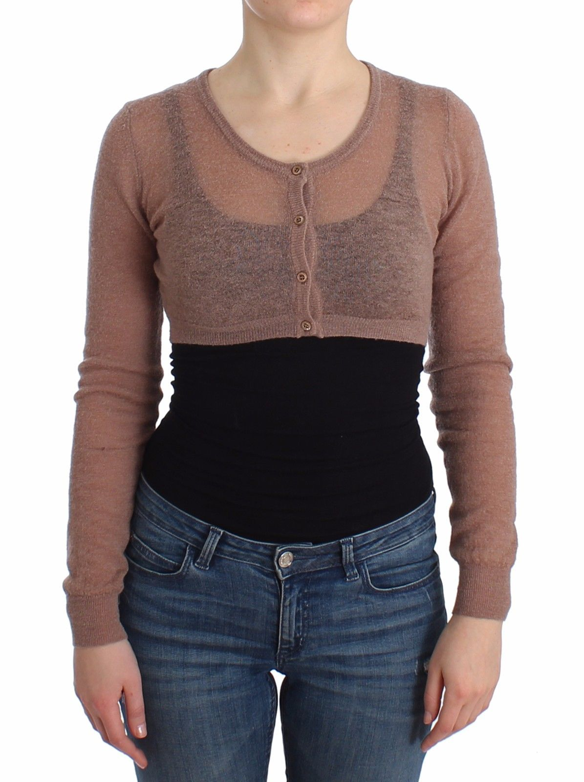 Ermanno Scervino Women's Knit Cropped Sweater Brown SIG11870 - IT42 | S