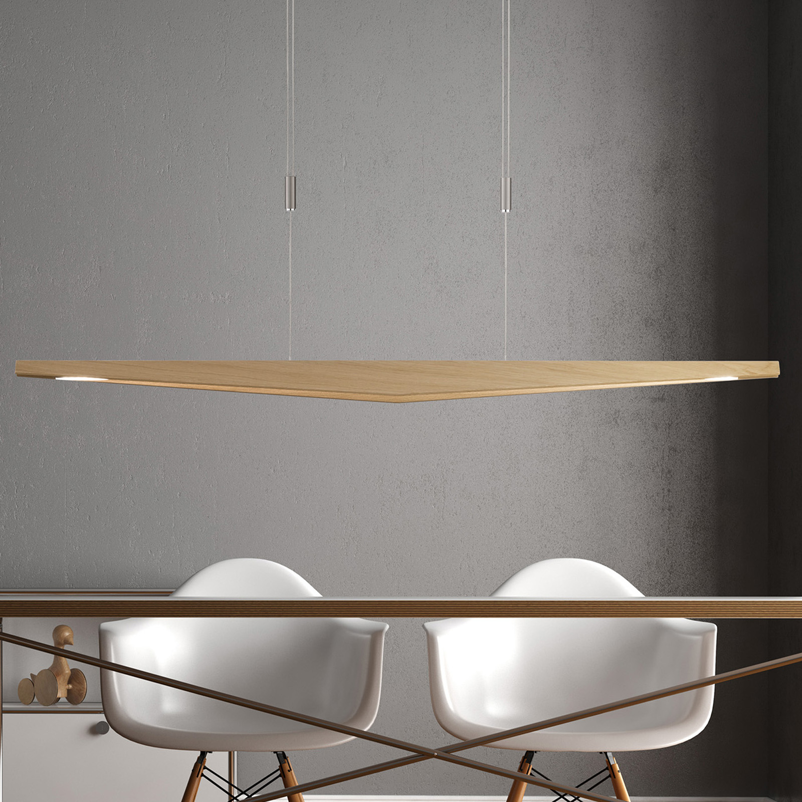 Lucande Dila -LED-riippuvalo luonnontammi, 148 cm