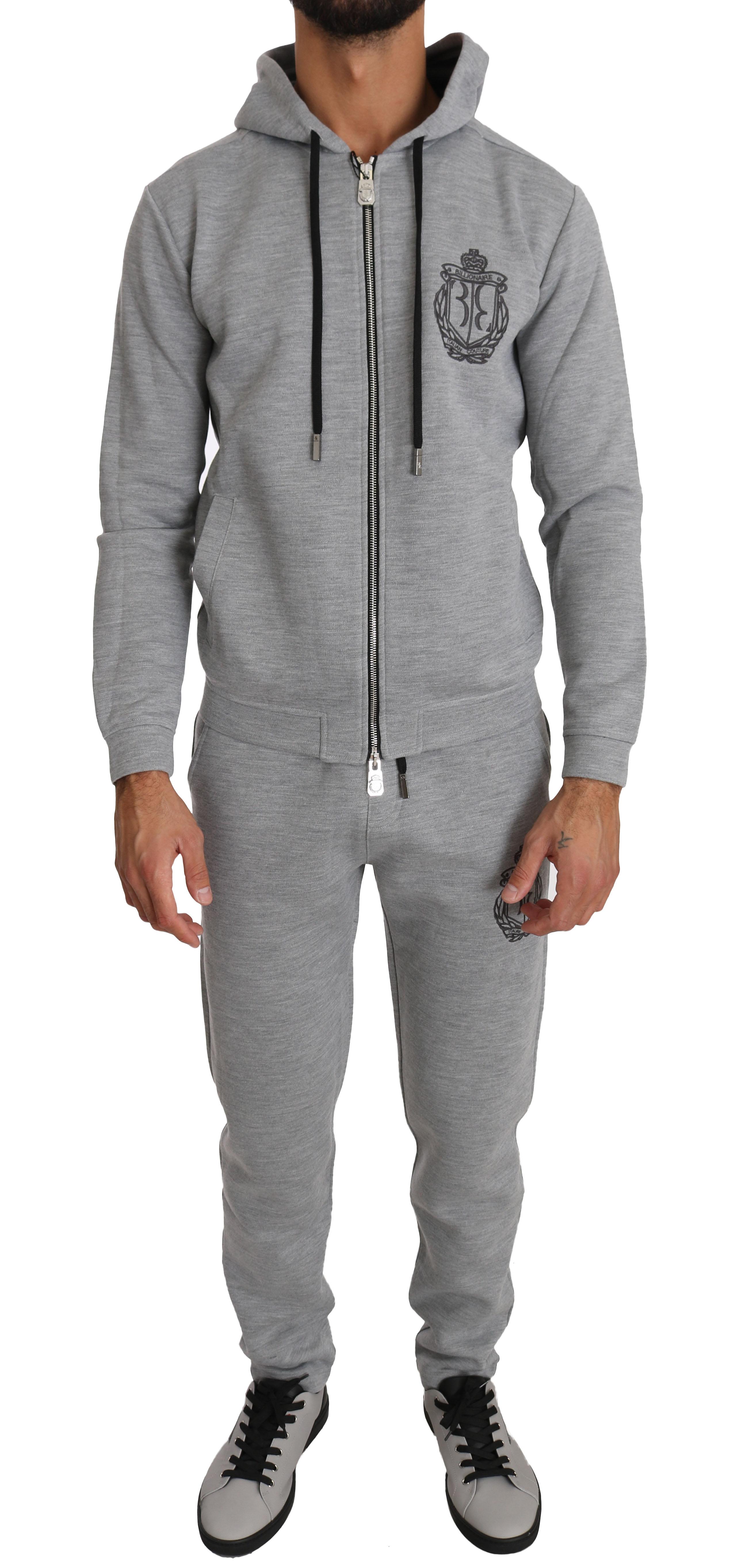 Billionaire Italian Couture Men's Hoodie Tracksuit Grey BIL1019 - IT60   3XL