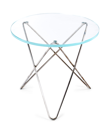 Mini O-table glass sidebord – Clear/stainless