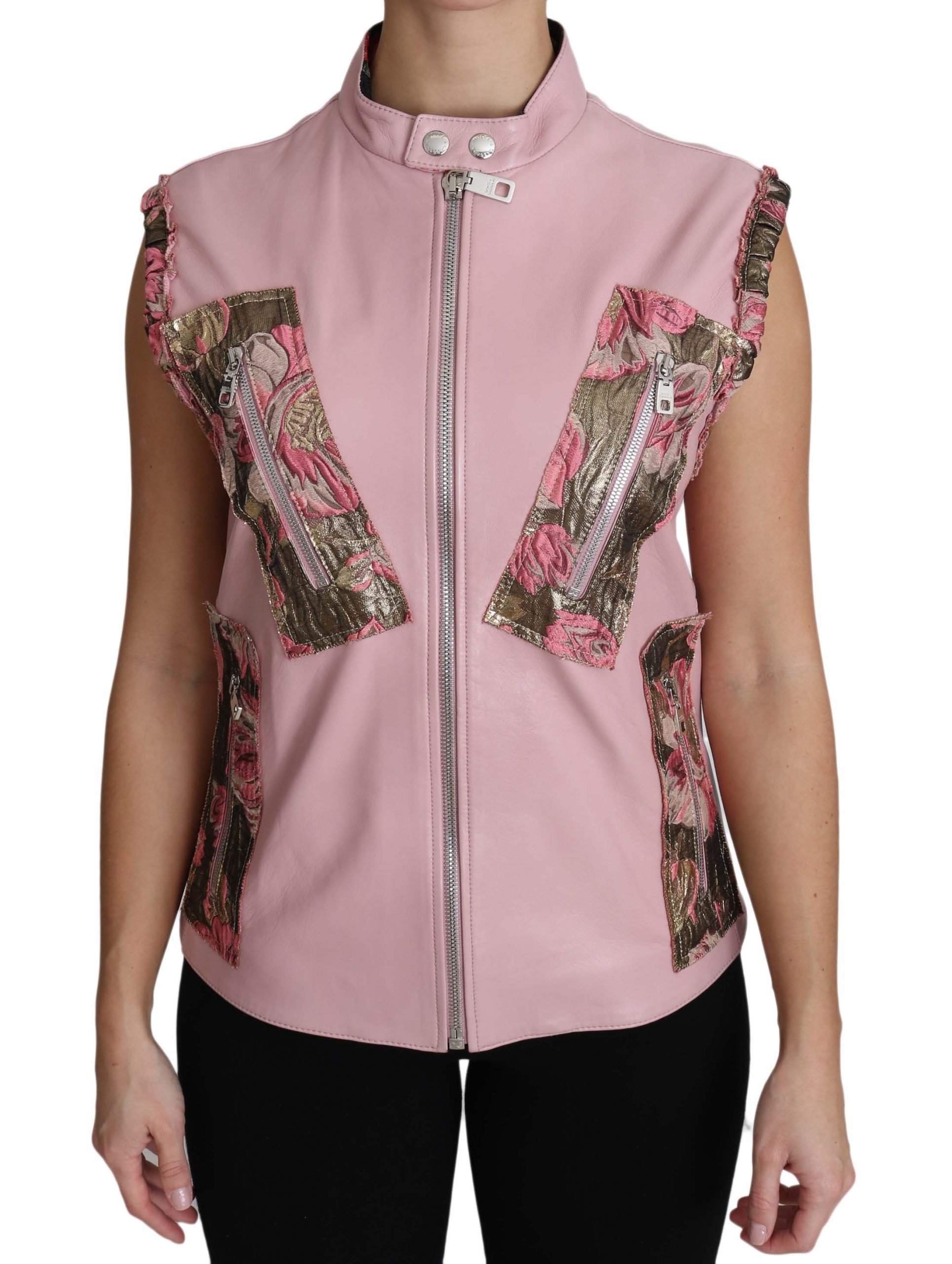 Dolce & Gabbana Women's Zippered Lamb Sleeveless Vest Leather Jacket Pink TSH3200 - IT40|S