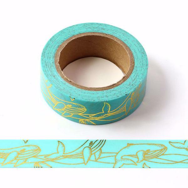 Gold Whale Print Blue Washi Tape