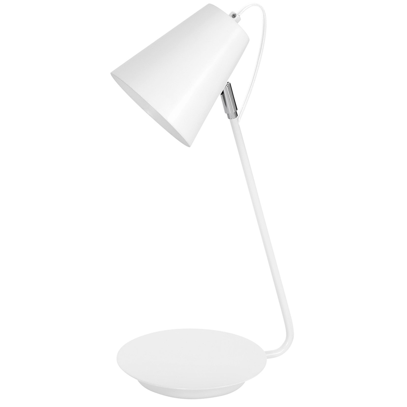 8296 bordlampe konisk krom-detalj, hvit