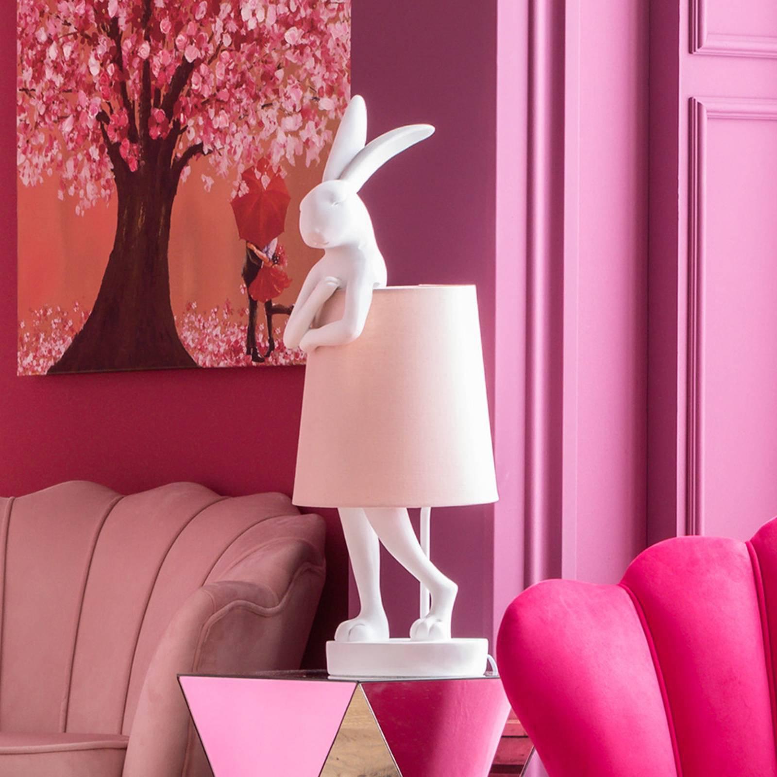 KARE Animal Rabbit bordlampe hvit/rosa