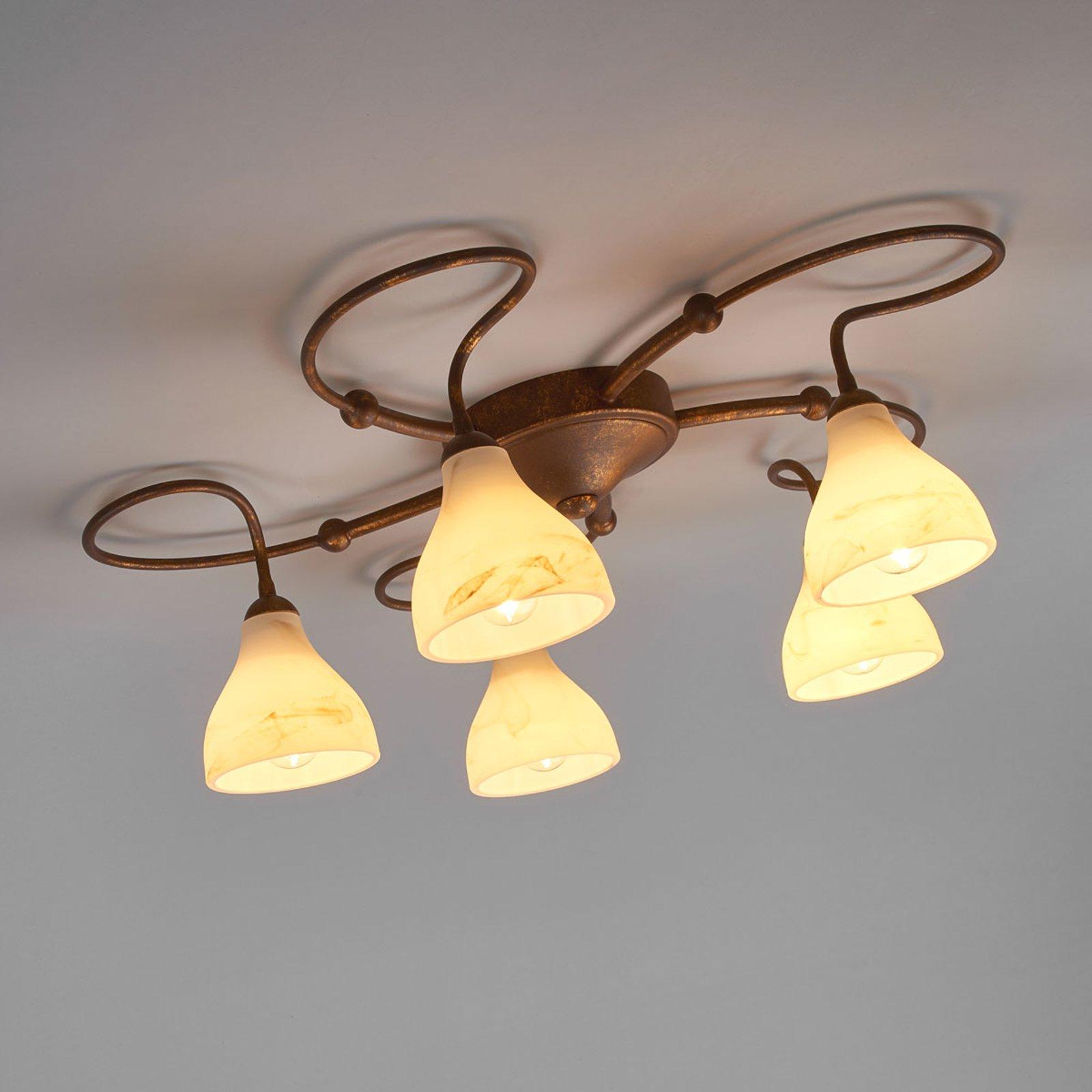 Rustikk taklampe Mattia med fem lys