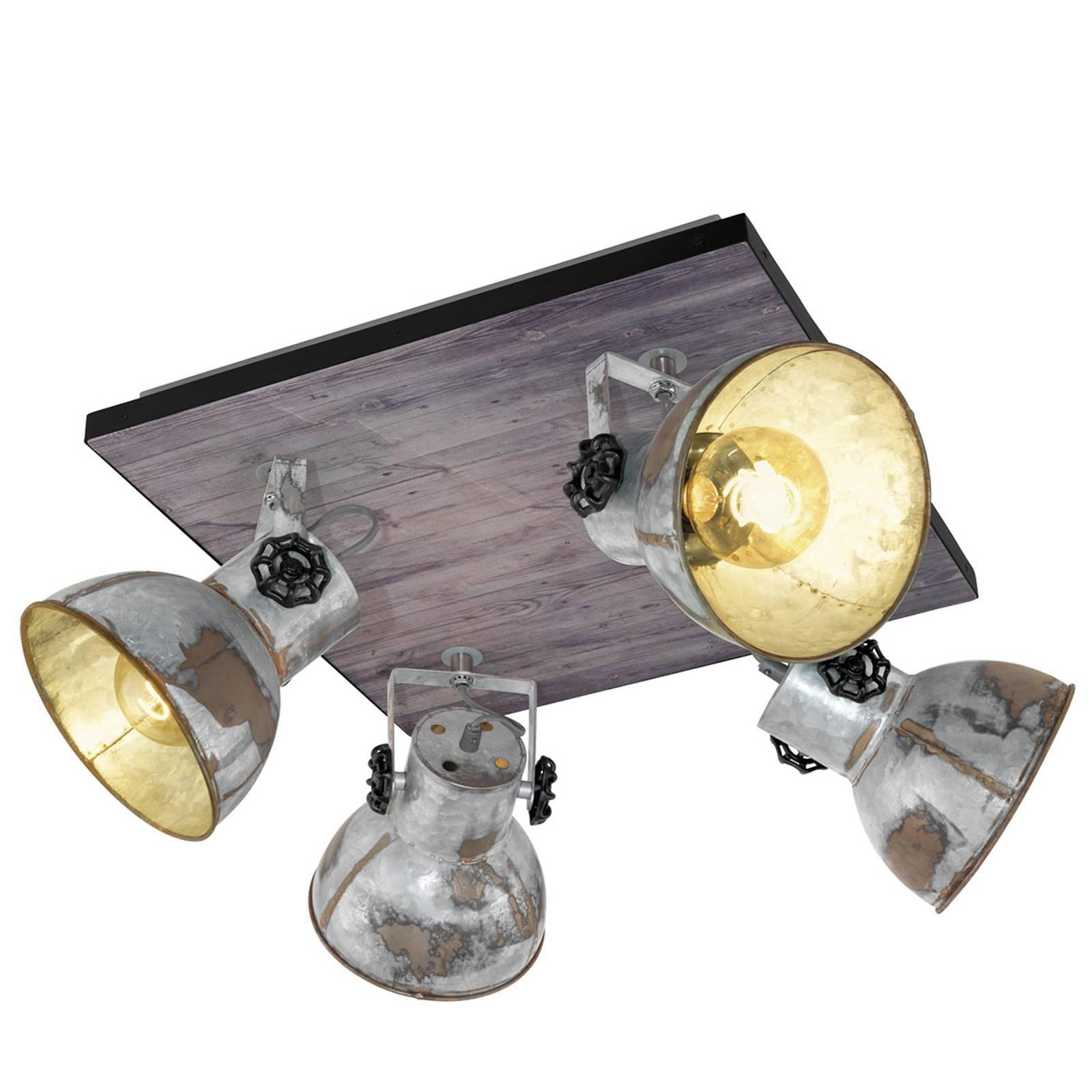 Kattovalo Barnstaple industrial-tyyli 4 lamppua
