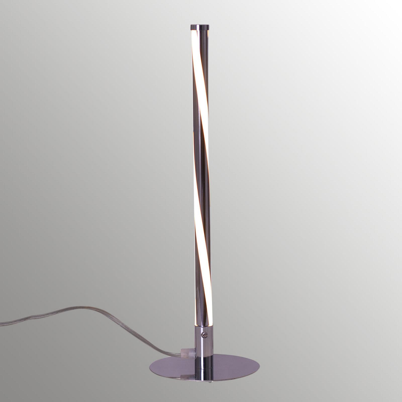 Pyöristetty LED-pöytälamppu Swirl, kromi