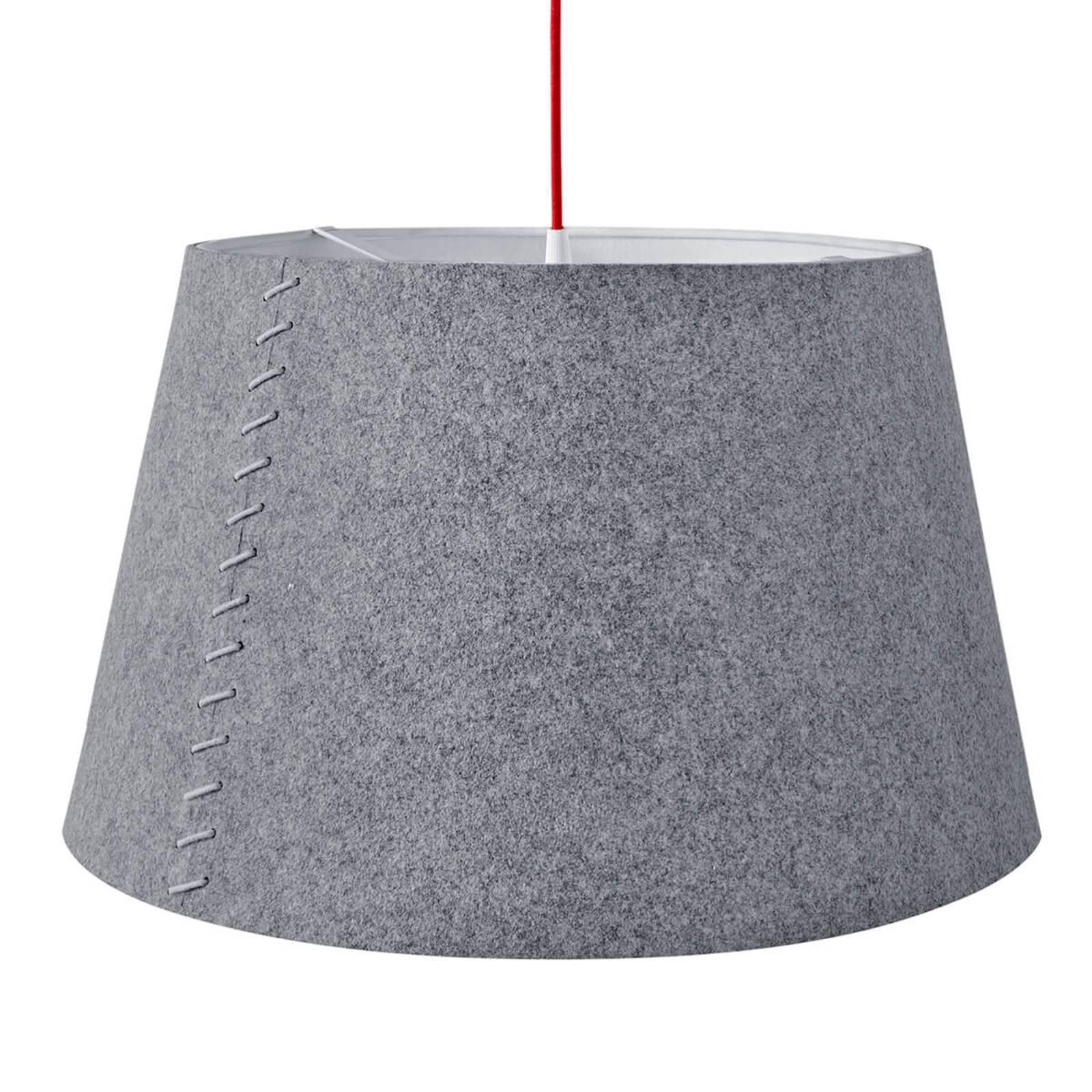 Alice - grå LED-hengelampe i filt, 50 cm
