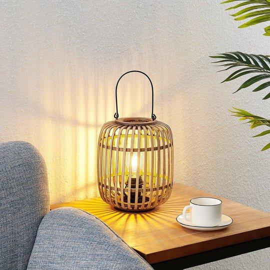 Lindby Canyana -pöytälamppu rottinkia, natur