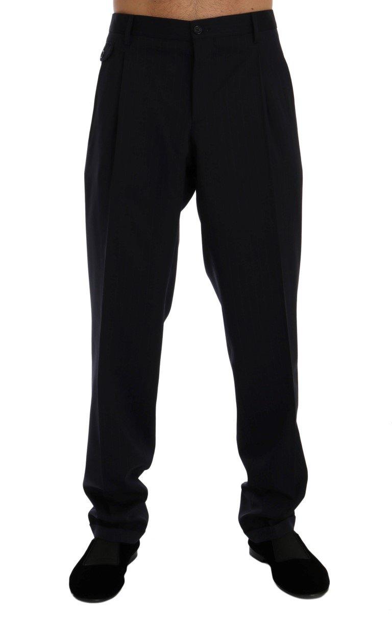 Dolce & Gabbana Men's Striped Cotton Dress Formal Trouser Blue PAN60367 - IT54 | XXL