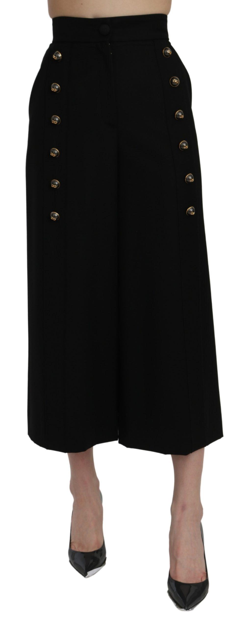Dolce & Gabbana Women's High Waist Cropped Trouser Black PAN71076 - IT36 | XS