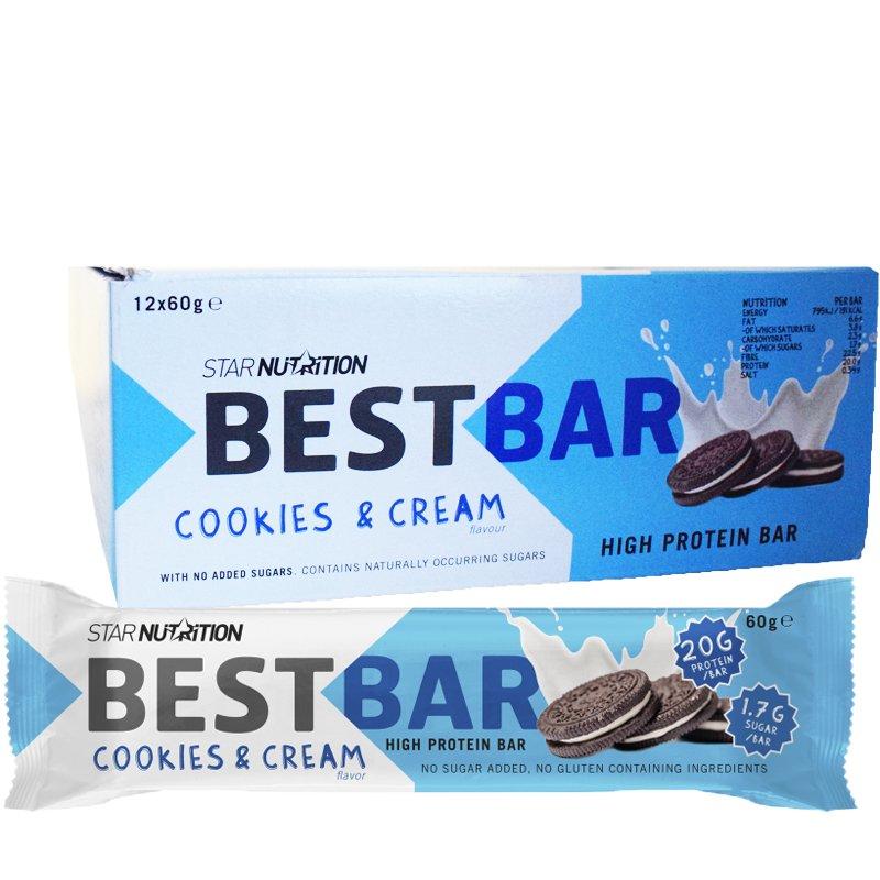 """Laatikollinen Proteiinipatukoita """"Cookies & Cream"""" 12 x 60g - 38% alennus"""