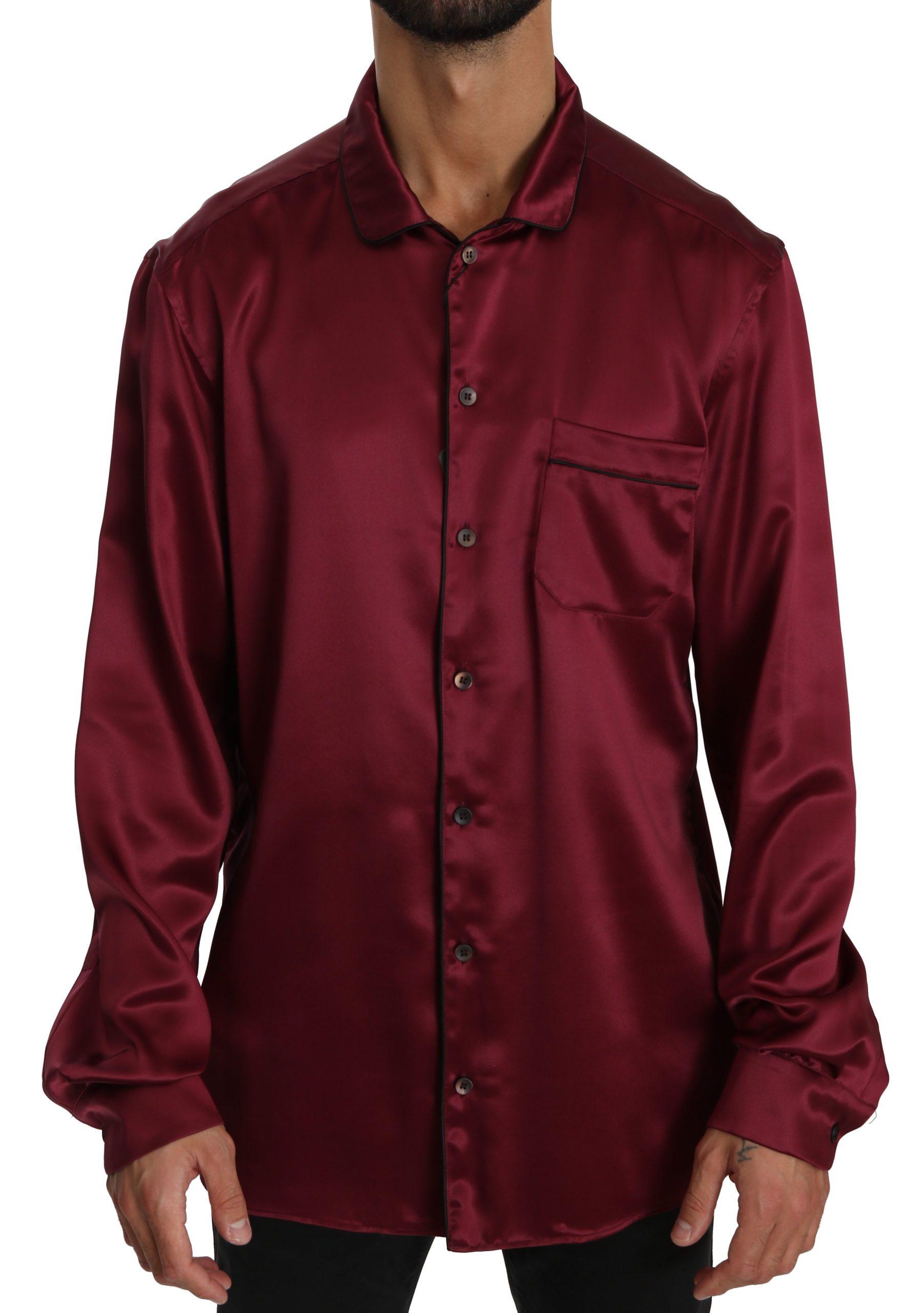 Dolce & Gabbana Men's Pajama Silk Shirt Bordeaux TSH4022 - IT40 | M