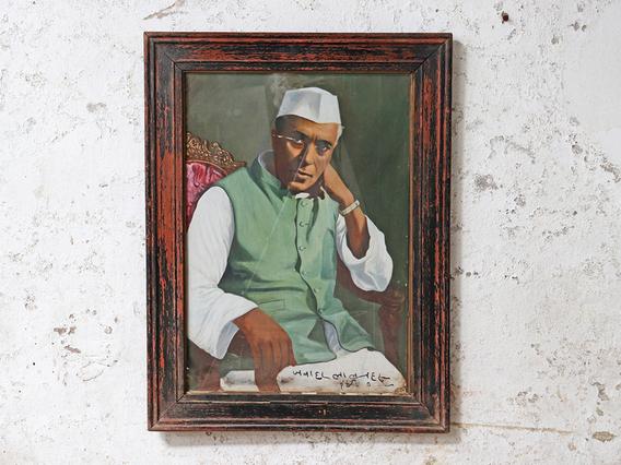 Vintage Framed Portrait of J Nehru Black