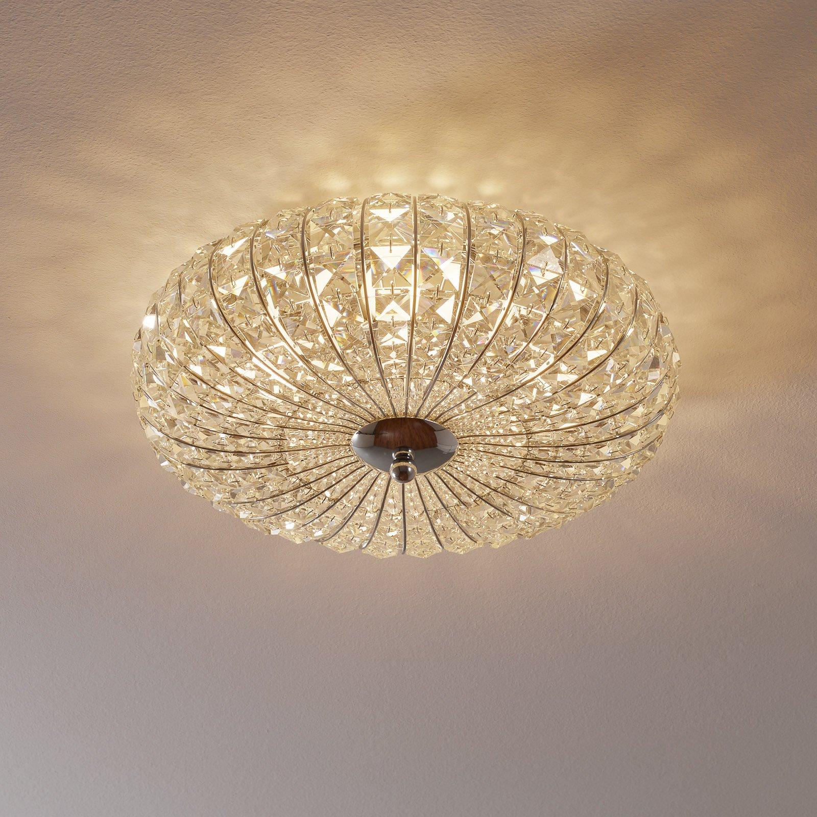 Broche taklampe med krystaller, Ø 40 cm