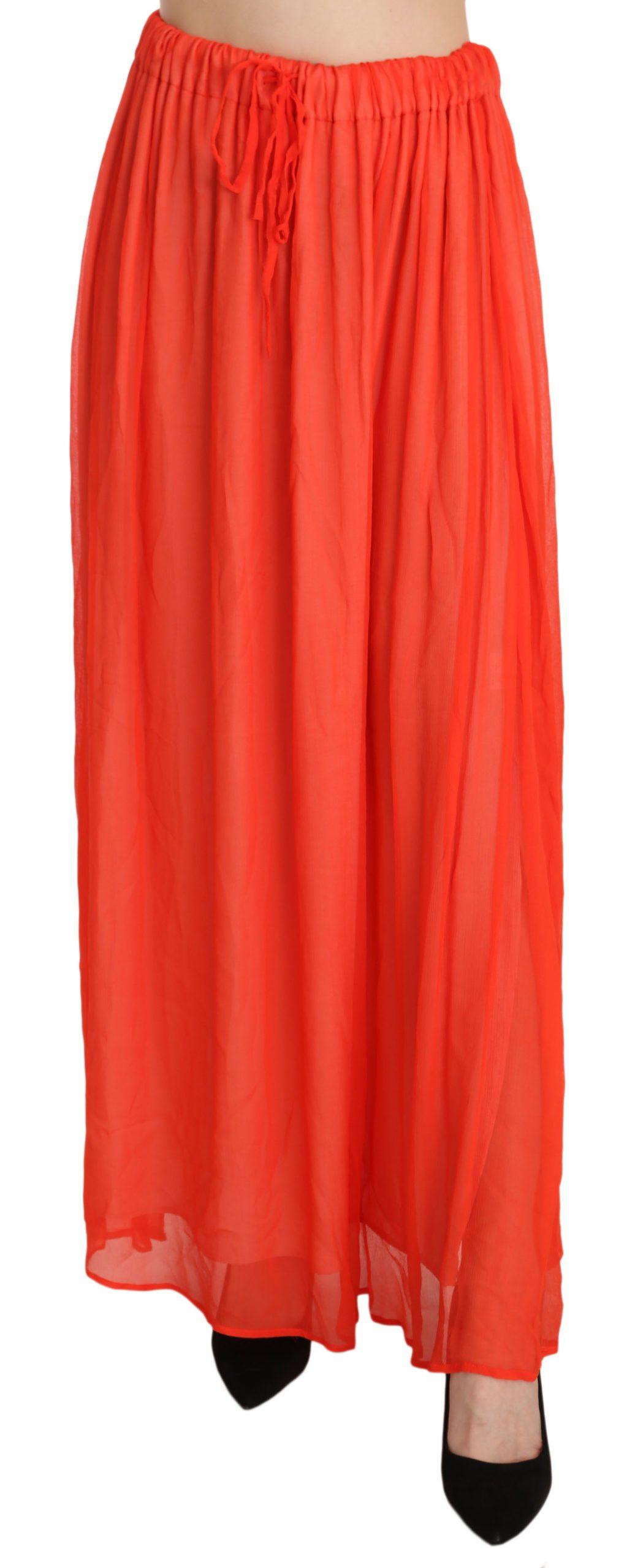 Orange Crepe Pleated Trapeze Viscose Maxi Skirt - IT42|M