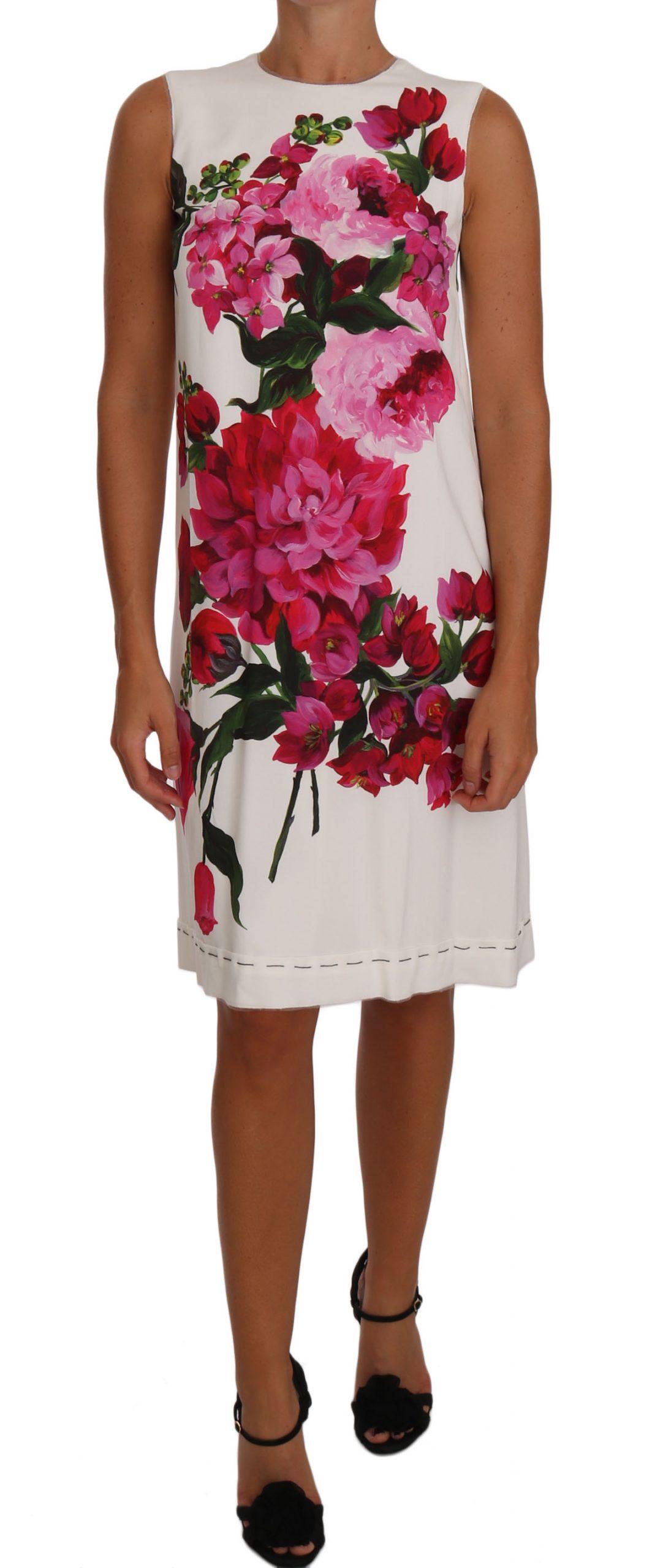Dolce & Gabbana Women's Peony Print A-Line Shift Gown Dress Multicolor DR1481 - IT36 | XS