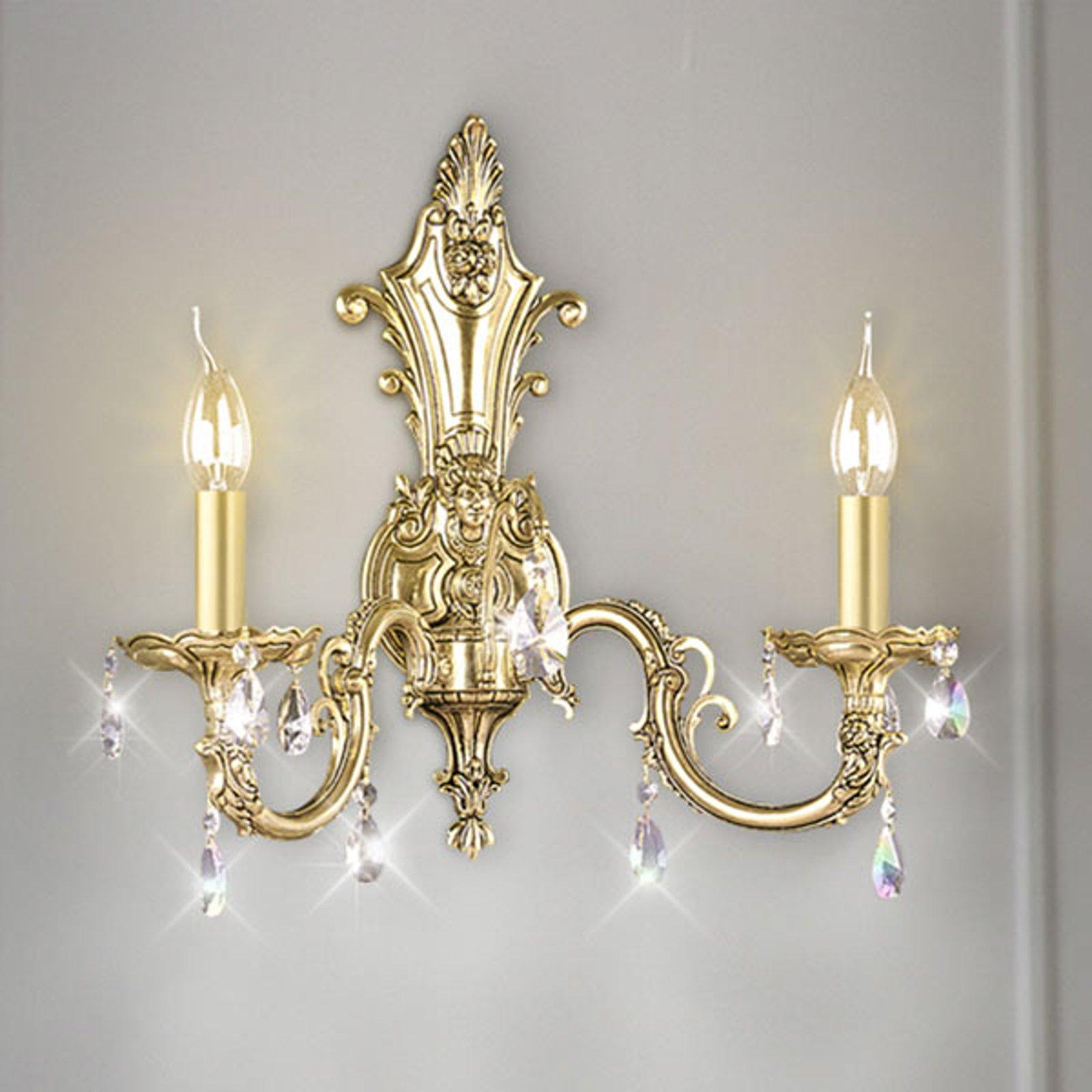 Vegglampe Royal krystaller 2 lyskilder, antikkgull