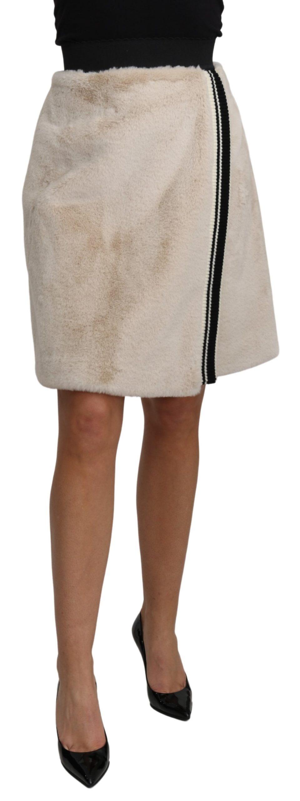 Dolce & Gabbana Women's High Waist A-line Mini Fur Skirt Beige SKI1475 - IT40|S