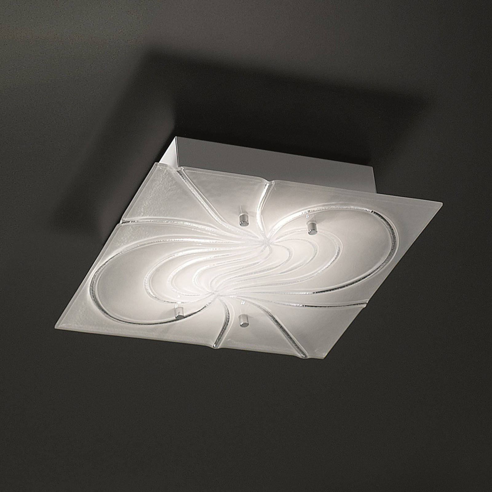 Kvadratisk taklampe Mistral 34 cm