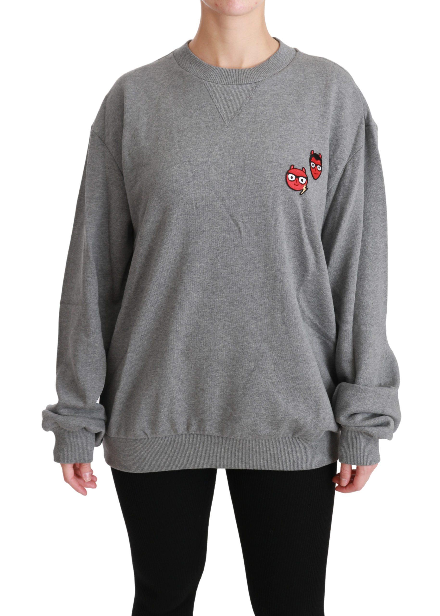 Dolce & Gabbana Women's #dgfamily Pullover Cotton Sweater Gray TSH4508 - IT44|L