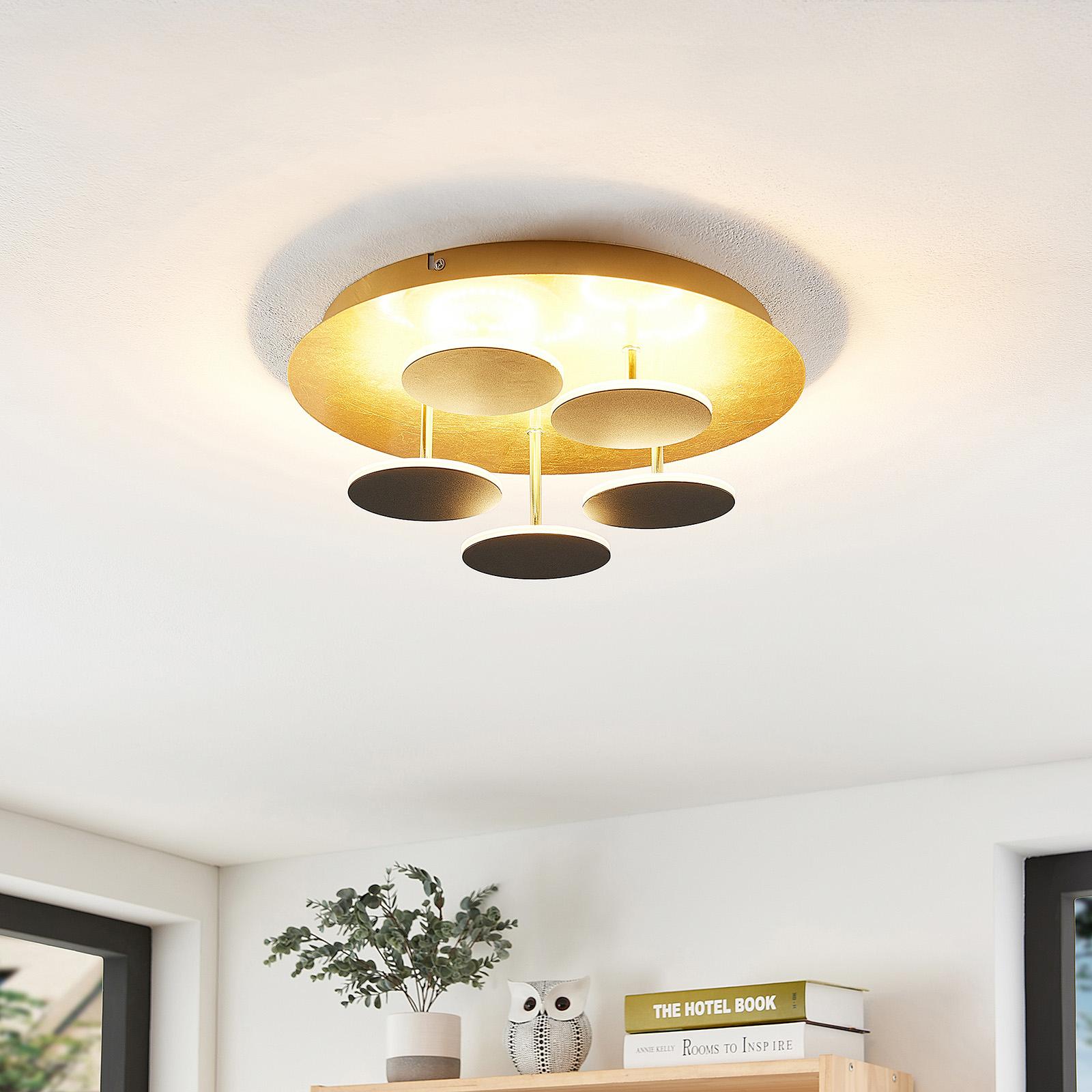 Lindby Casni -LED-kattovalaisin, musta-kulta