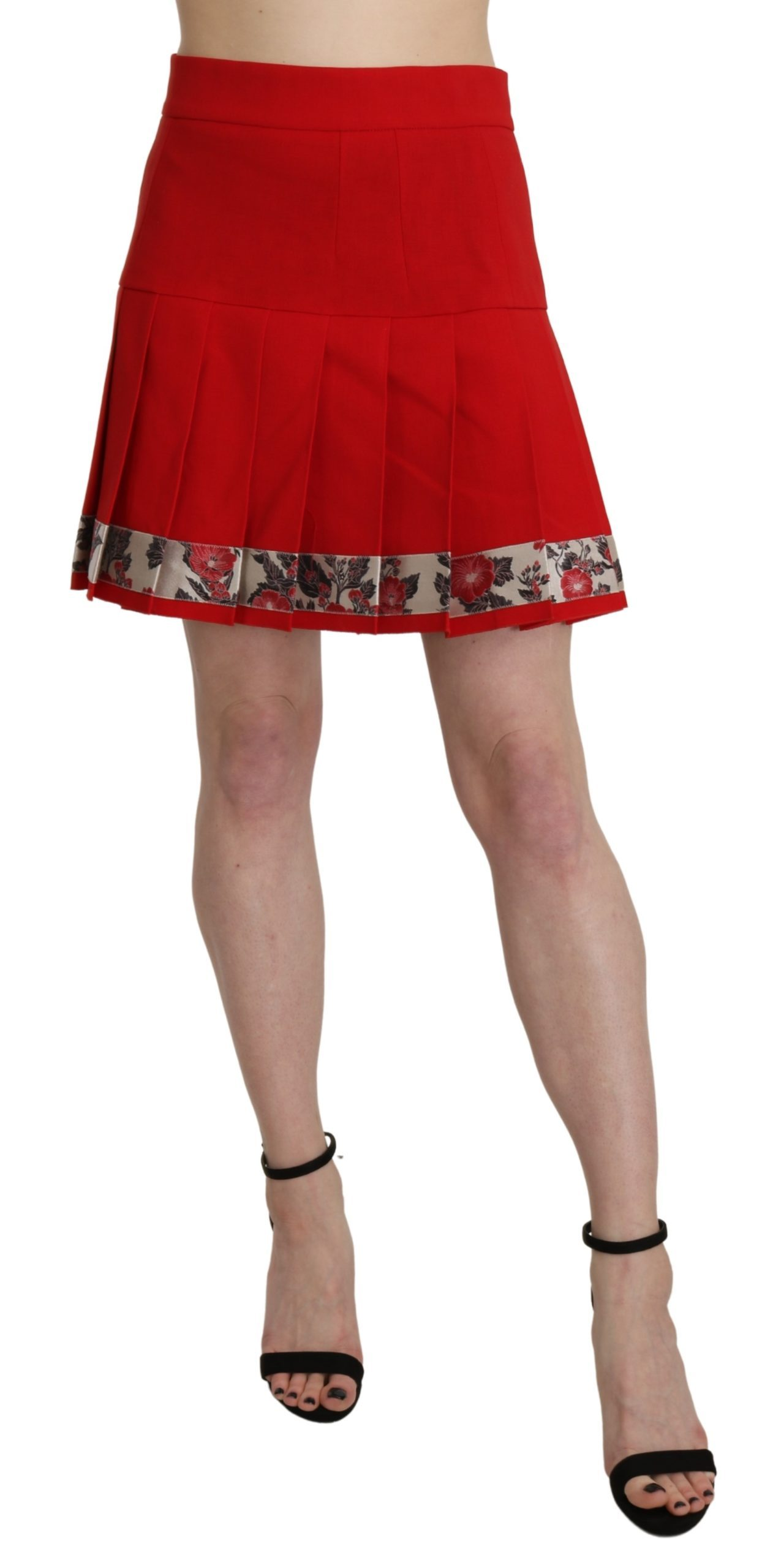 Red High Waist Wool Short Floral Print Skirt - IT42|M