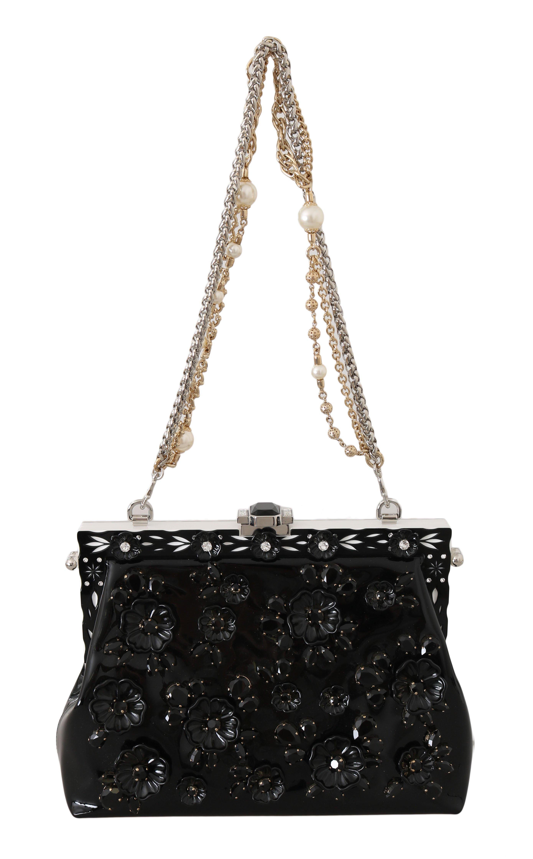 Dolce & Gabbana Women's Patent VANDA Leather Crystal Clutch Bag Black VAS15348