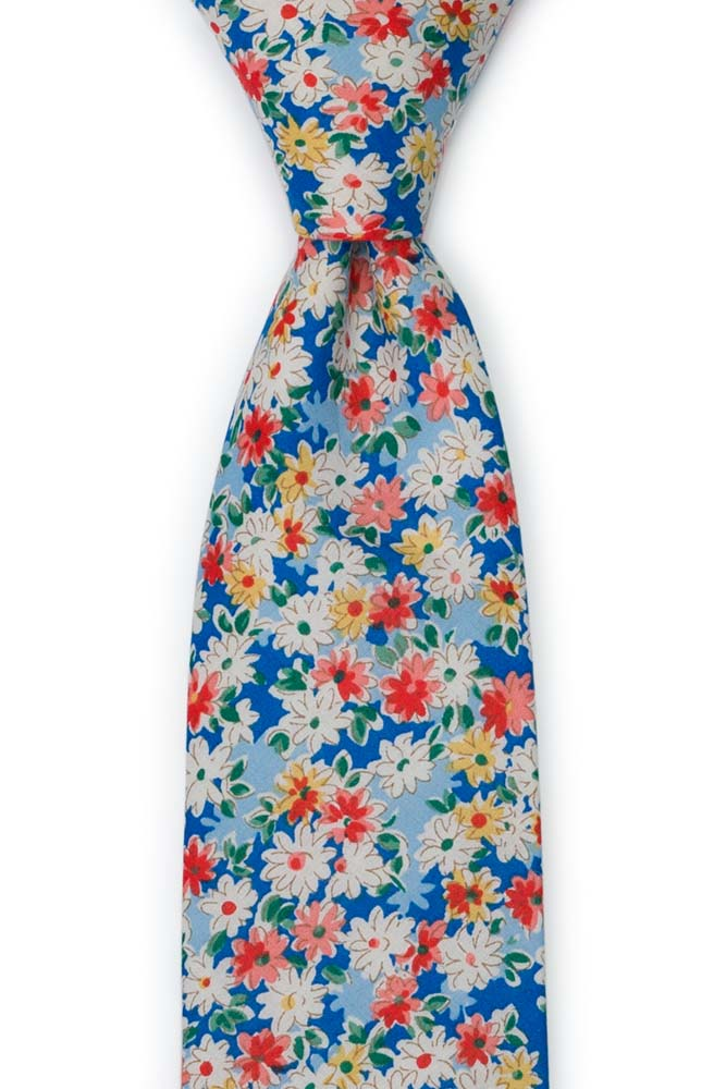 Bomull Slips, Røde, lakserosa, gule & hvit tusenfryd på blått, Blå, Blomster