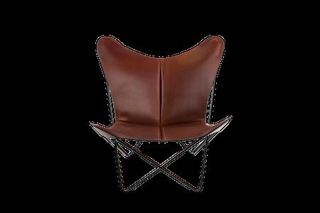 Trifolium Fåtölj Cognac Läder & Svarta Ben