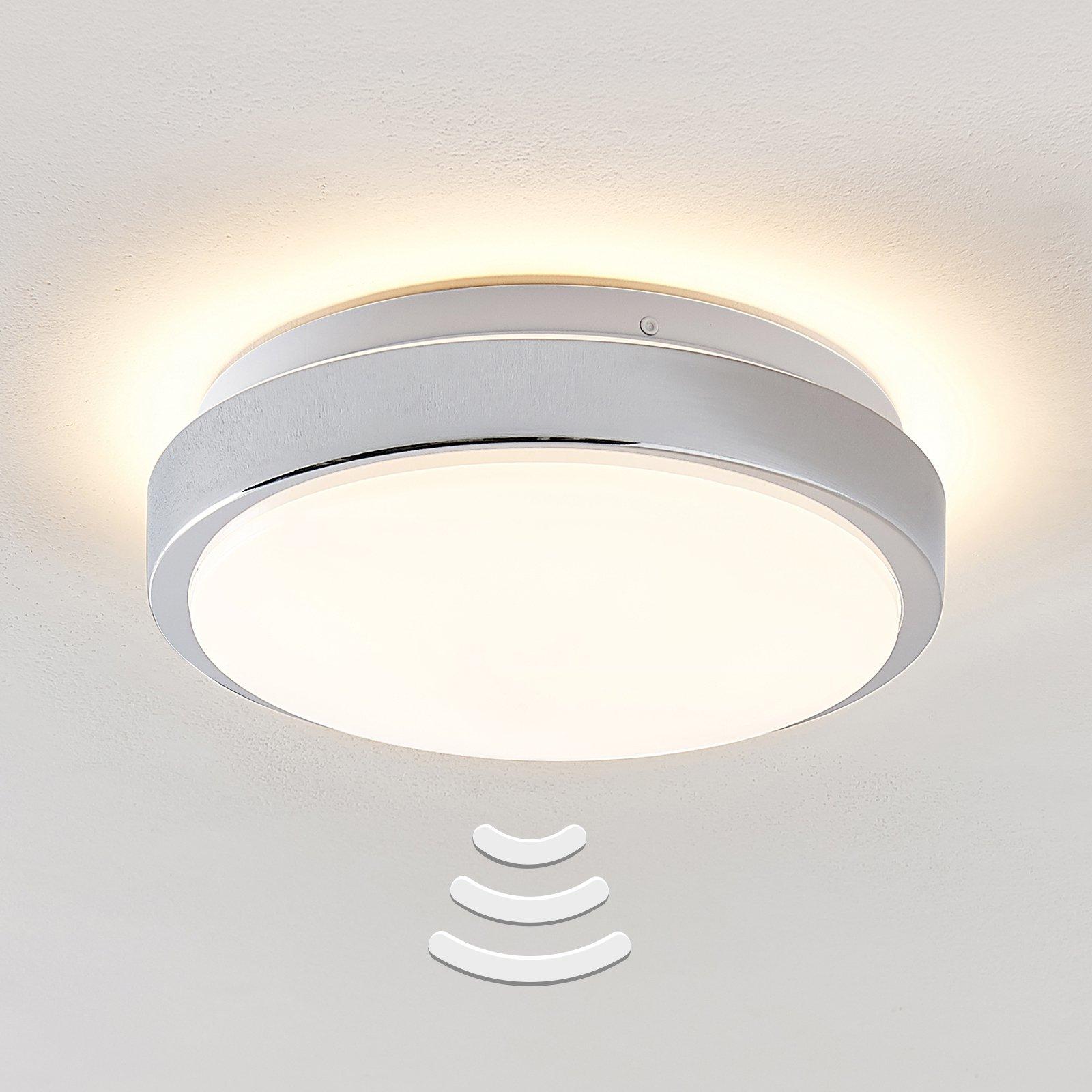 Lindby Camille LED-sensor-taklampe Ø26cm krom