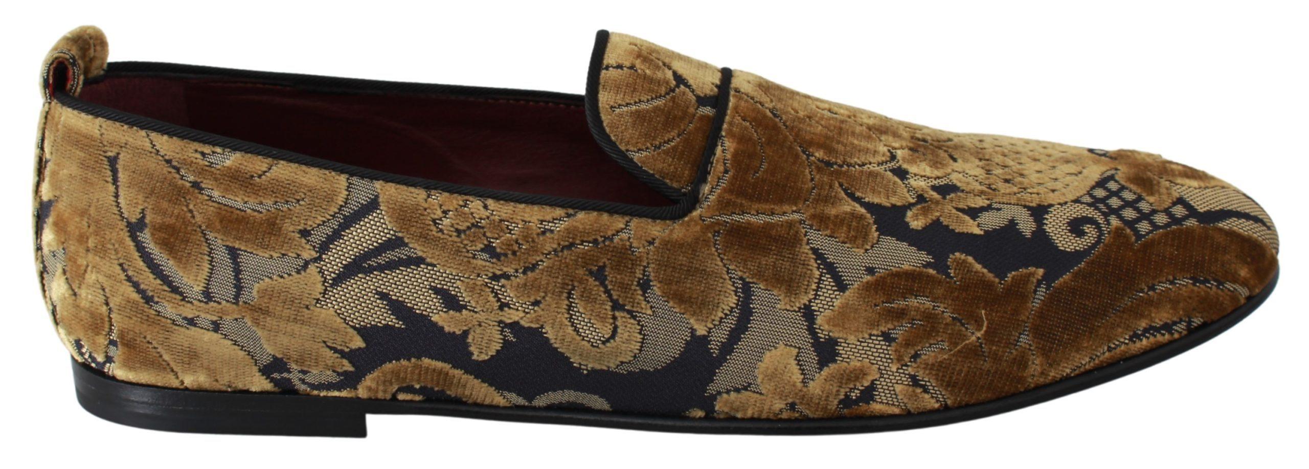 Dolce & Gabbana Men's Brocade Loafers Gold MV2703 - EU40/US7