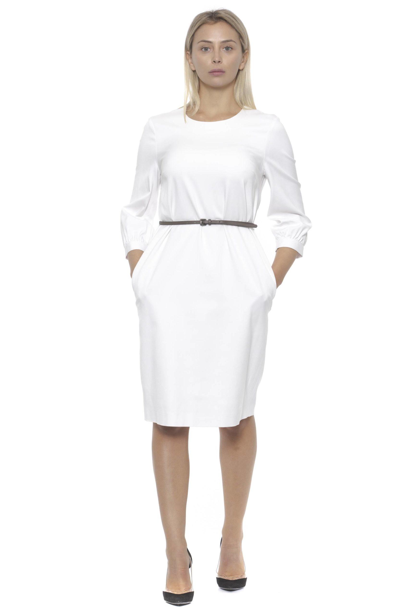 Peserico Women's Bianco Dress Beige PE1383162 - IT42   S