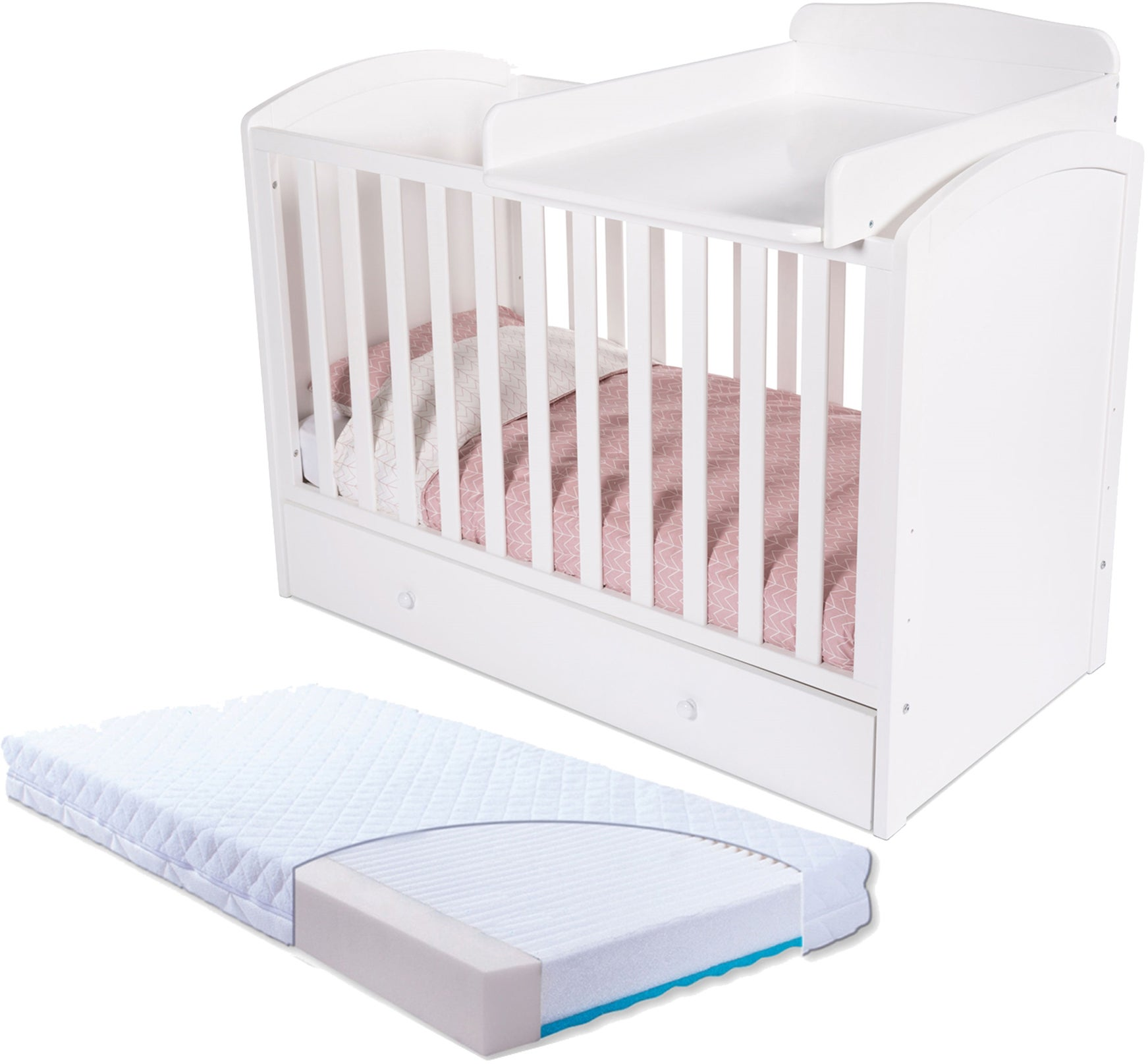 JLY Lux Pinnasänky Laatikoilla, Valkoinen & BabyMatex Patja