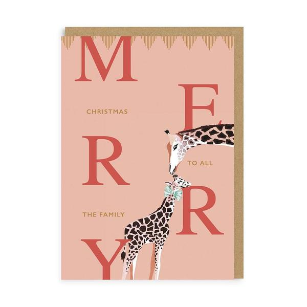 To The Family Giraffes Merry Christmas Card