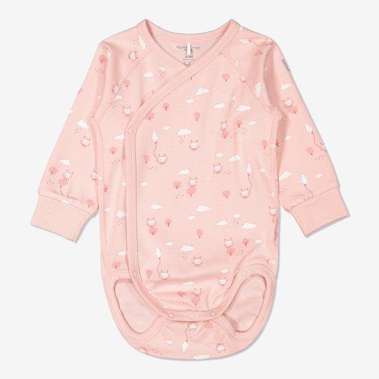 Omslagsbody med ugletrykk baby rosa